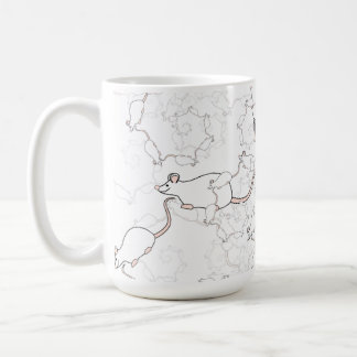 Cute White Mouse Pattern. Mice on White. Coffee Mug