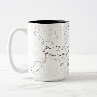 Cute White Mouse Pattern. Mice on White. Coffee Mugs