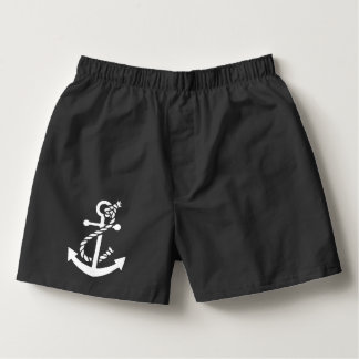 Cute White Nautical Boat Anchor Illustration Boxers