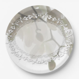 Cute white orchids paper plate