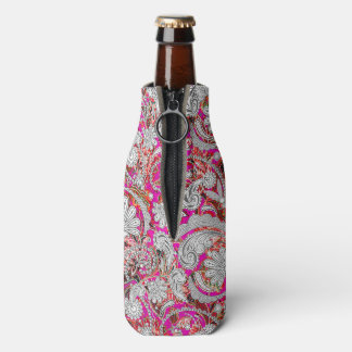 Cute white pink paisley patterns bottle cooler