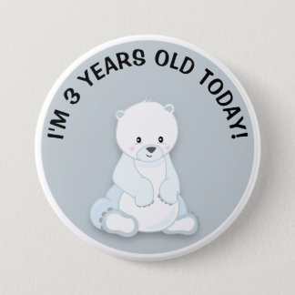 Cute White Polar Bear on Gray Birthday Button