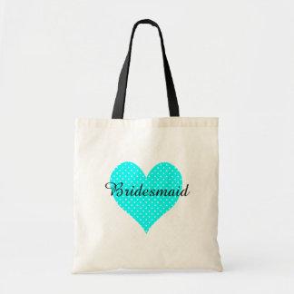 Cute White Polka Dot Aqua Heart Bridesmaid Budget Tote Bag