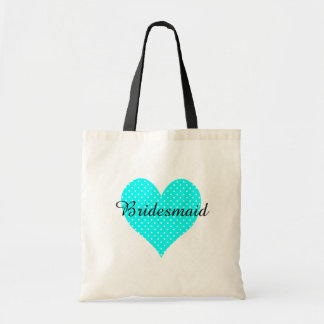 Cute White Polka Dot Aqua Heart Bridesmaid Tote Bag