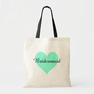Cute White Polka Dot Aquamarine Heart Bridesmaid Budget Tote Bag
