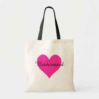 Cute White Polka Dotted Deep Pink Heart Budget Tote Bag