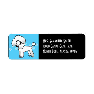Cute White Poodle - Blue and Black Return Address Label