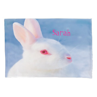 Cute white rabbit on blue background add name pillowcase