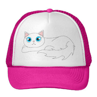Cute White Ragdoll Cat Cartoon Cap