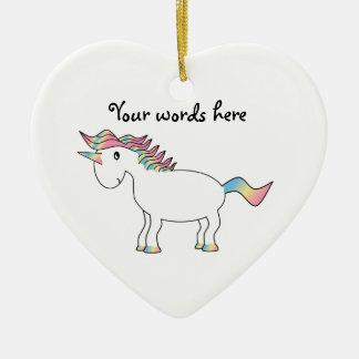 Cute white rainbow unicorn ceramic heart decoration