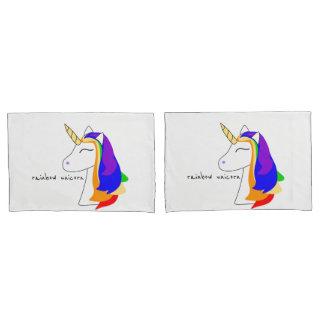 Cute White Rainbow unicorn head red pillowcase