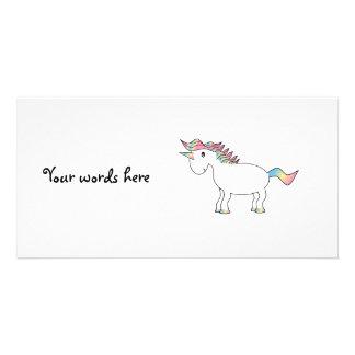 Cute white rainbow unicorn photo greeting card