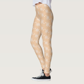 Cute white snowflakes on PEACH Christmas Leggings