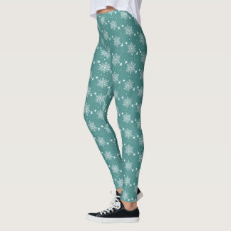 Cute white snowflakes on TEAL Christmas Leggings
