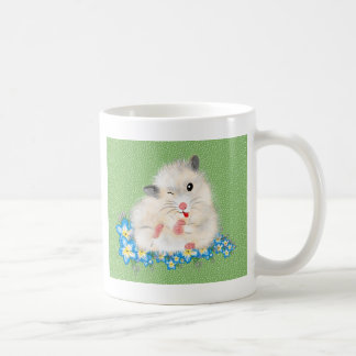 Cute white Syrian hamster accessories, green polka Coffee Mug