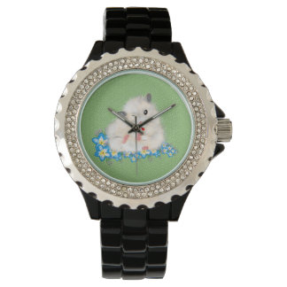 Cute white Syrian hamster accessories, green polka Watch