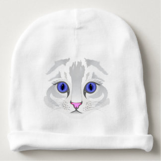 Cute white tabby cat face close up baby beanie