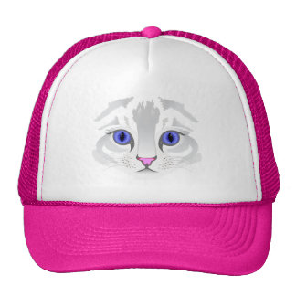Cute white tabby cat face close up illustration cap