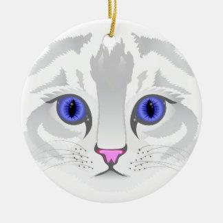 Cute white tabby cat face close up illustration ceramic ornament