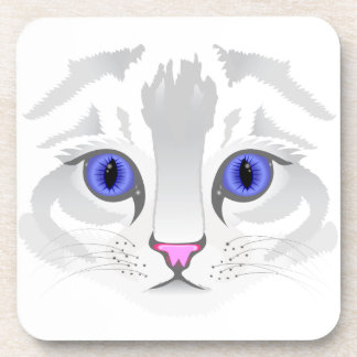 Cute white tabby cat face close up illustration drink coaster