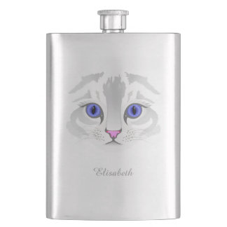 Cute white tabby cat face close up illustration flask