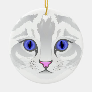 Cute white tabby cat face close up illustration round ceramic decoration