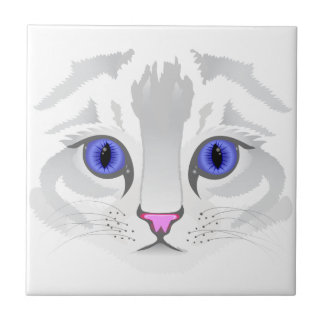 Cute white tabby cat face close up illustration small square tile