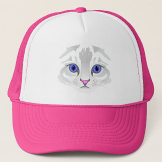 Cute white tabby cat face close up illustration trucker hat