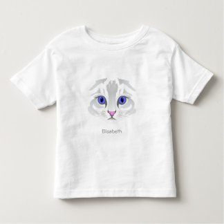 Cute white tabby cat face name toddler shirt