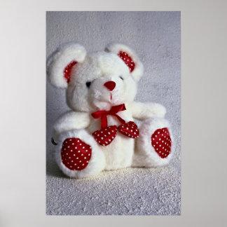 Cute white teddy bear posters