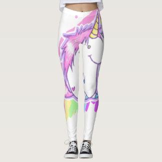 Cute White Unicorn Love Kawaii Cartoon Leggings