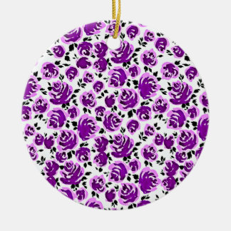Cute white violet roses patterns ceramic ornament