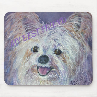 CUTE WHITE YORKIE MIX MOUSE PAD