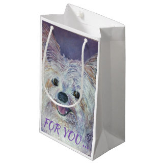 CUTE WHITE YORKIE MIX SMALL GIFT BAG