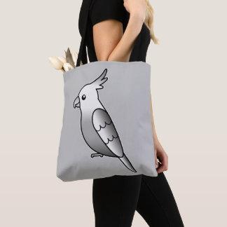 Cute Whiteface Cockatiel Cartoon Bird Illustration Tote Bag