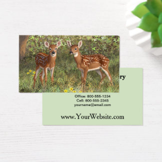 Cute Whitetail Deer Twin Fawns Business Card