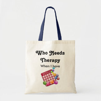 Cute Who Needs Therapy Bingo Lovers Player Tote