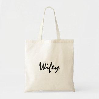 Cute wifey tote for bride honeymoon or wedding budget tote bag