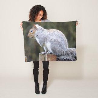Cute Wild Gray Squirrel (UK ) Fleece Blanket