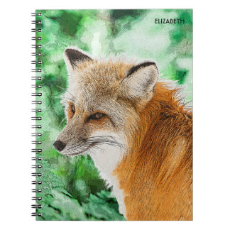 Cute Wild Red Fox Drawing Notebook