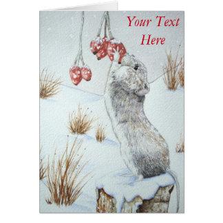 Cute wild wood mouse & berries snow scene art greeting card