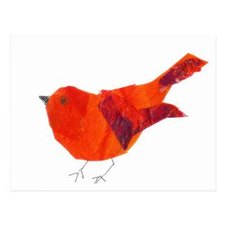 Cute Wildlife Animal Unique Artistic  Red Bird Postcard