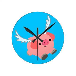 Cute Winged Cartoon Pig Round Clock