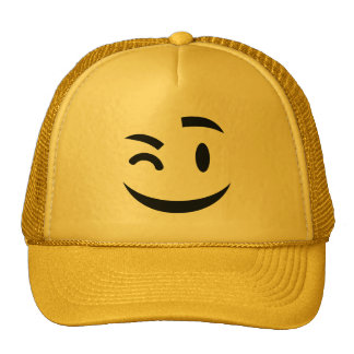 Cute winking at you emoji cap