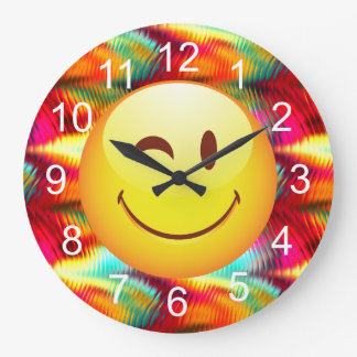 Cute Winking Happy Face and Bright Colors Large Clock