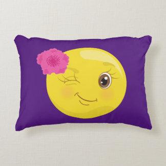 Cute Winky Girl Emoji (floral) Decorative Cushion