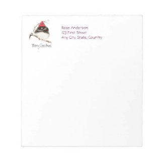 Cute Winter Bird in Hat, Christmas, Humor, Junco Notepad