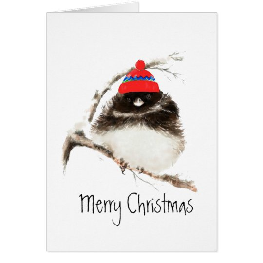 Cute Winter Bird in Hat, Christmas, Humour, Junco Card