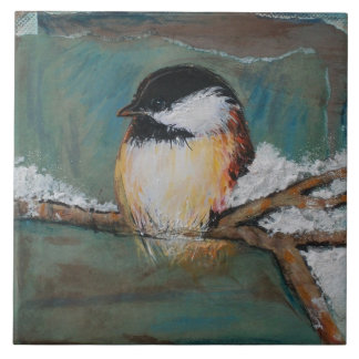 Cute Winter Black Capped Chickadee | Large Tile