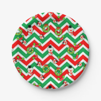 Cute winter characters Christmas pattern 7 Inch Paper Plate